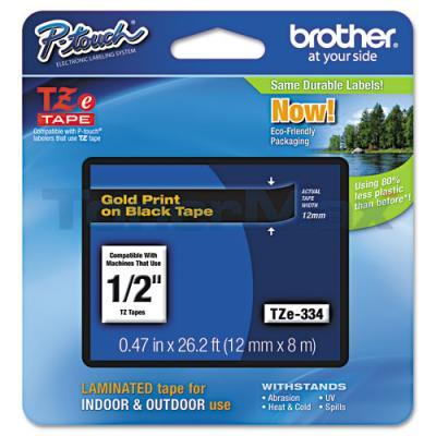 BROTHER TZ LAMINATED TAPE GOLD ON BLACK 0.47 IN X 26.2 FT